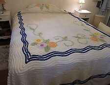 "Vintage White Chenille Bedspread w/ Colorful Flowers~ Blue Wave trim~103"" X 90"""