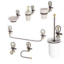 Kit completo accessori bagno a muro in ferro battuto e ceramica con dettagli oro