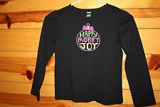 *GYMBOREE* Girls CHEERY ALL THE WAY Black Ornament Top Long Sleeve Shirt EUC 7