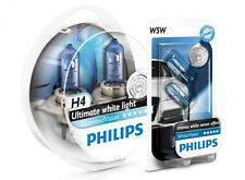 (+ W5W Parkers!) H4 PHILIPS Diamond Vision 5000K White Light Bulbs Headlamp