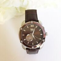 Mens Wohler Brown Leather Band Exposed Back Watch