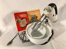 Vintage Sunbeam Mixmaster Stand Mixer Model 5B White ~ Two Bowls & Beaters Works