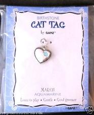Nip Ganz Birthstone Cat Tag Charm Heart w/ Paw Shape Stones March/Aqua *Bogo 50%