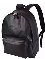 BNEW Coach Men's F54786 Black Calf Leather Campus Rucksack Backpack