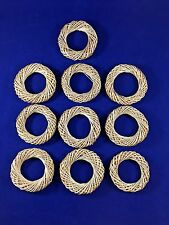 10 Round Straw Basket Weave Napkin Rings Beautiful Organic Look or Decorate