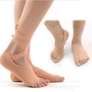 Wrap Tie Lace Up Yoga Pilates Socks Gym Ballet Dance Non-Slip Toe Separator US