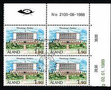 Aland Finland 1989 Used Block of 4 - Mariehamn City Hall - First Day Cancel