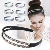 Women's Flower Hairband Headband Rhinestone Hair Bands Hoop Accessories