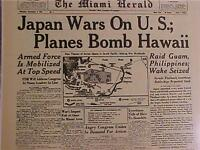 VINTAGE NEWSPAPER HEADLINE ~WORLD WAR 2 JAPAN BOMB HAWAII PEARL HARBOR WWII 1941