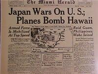 VINTAGE NEWSPAPER HEADLINE ~WORLD WAR 2 JAPAN BOMB HAWAII PEARL HARBOR WWII 1941