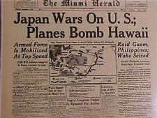 VINTAGE NEWSPAPER HEADLINE~WORLD WAR JAPAN PLANES BOMB HAWAII PEARL HARBOR WWII