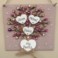 Personalised wooden family tree keepsake Valentines sign plaque Christmas Gift