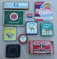 Vintage Tin Can - Camel Lucky Strike Acme Scotch Staedtler - 10 Piece Lot
