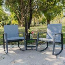 3 PCS Outdoor Patio Rattan Wicker Furniture Set Chair Cushioned Deck Black