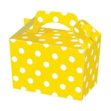10 Yellow Polka Dot Party Boxes - Spotty Food Loot Lunch Cardboard Gift