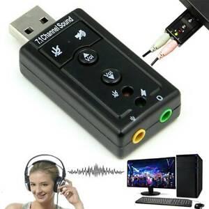 Extern USB Audio Adapter Soundkarte Sound Kopfhörer Mikrofon Headset