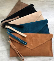 Tan Brown Wedding Clutch Bag Evening Bag Over Size Envelope Suede Made in Italy