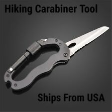 5 way Multi Function Survival Hiking Gear Knife Carabiner Tool Ships from USA