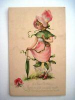 "1916 Birthday Postcard by ""Gibson"" W/ Pretty Pink Snapdragon Flower Girl  *"