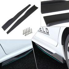 2× 74.5cm Car Carbon Fiber Side Skirt Rocker Splitters Winglet Diffuser Wings BK