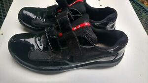 Prada men's Americas cup patent leather patch work sneakers