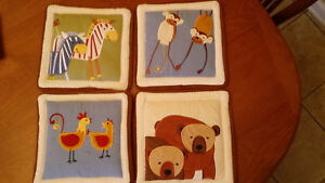 Lot of 4 KIDSLINE Nursery Mommy-Baby Animals Fabric Wall Decor Hangings