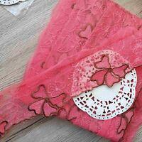 1 lfM. Spitzenborte Tüllspitze Band Bordüre Stickerei Rosa 7cm breit