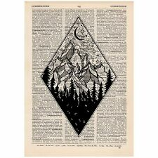 Diamond Moonlight Mountains Dictionary Print OOAK, Art,Unique, Gift,
