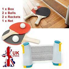 Portable Retractable Table Tennis Set Kit, Ping Pong 2 Bats with Expandable Net