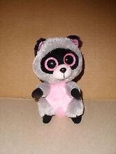"Beanie Boo ROCCO Gray/Pink Raccoon 6"" Plush Toy Beanie Baby 2014 GLITTER EYES"