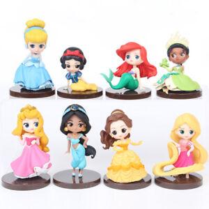 8Pcs Disney Princess Belle Snow White Cinderella Action Figure Model Cake Topper