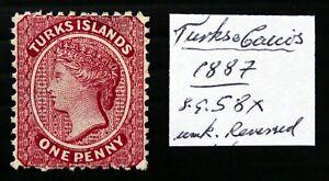 TURKS ISLANDS 1887 - 1d Reversed/WMK Variety No Gum As Described DF235