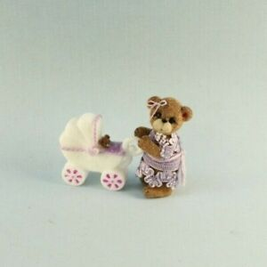 OOAK~Brown Bear~Baby Buggy~Pram~Mini~Artist Doll~Dollhouse~Baby Toy~Cheryl Brown