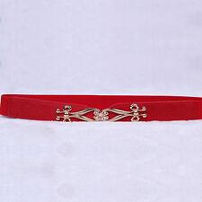 Women Leather Waist Belt Buckle Elastic Stretch Dress Belt Narrow Thin Waistband