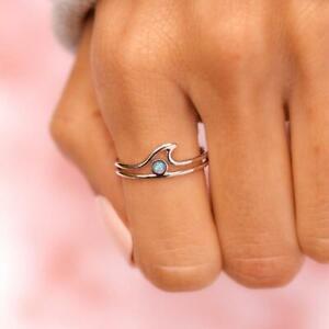 Pura Vida Silver Opal Wave Ring Size 7
