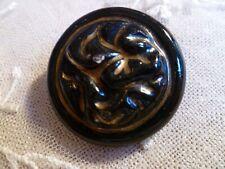 bouton ancien céramique noir et doré PAF Paris 31 mm