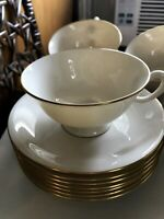 LENOX CHINA 'MANOR' 7 TEA CUPS AND SAUCERS (14 PC) IVORY GOLD TRIM MINT