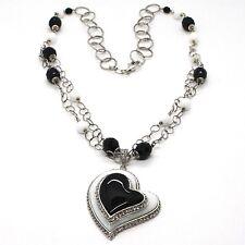 Halskette Silber 925, Onyx Schwarz, Achat Weiß, Herz Anhänger, Kette Zwei Reihen