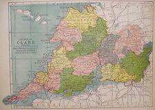 Irish Map County CLARE Ireland Burren Ennis Kilrush Color PW Joyce 1905 9.5x7