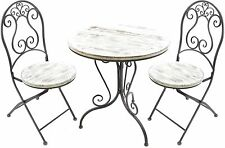 Outdoor Bistro 3 Piece Chairs Table Metal Iron Distressed Wood