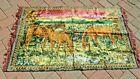 """60 70's Velvet Rug Tapestry Mid Century Horses Pasture Large 36x62"""" Fringe ends"""