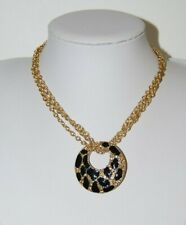 GUESS BLACK ENAMEL WITH RHINESTONES ROUND GOLDEN PENDANT CHAINS CHOKER NECKLACE