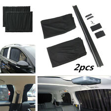 2pcs Adjustable Car Window Mesh Interlock Curtain UV Sunshade Visor 50cm Black