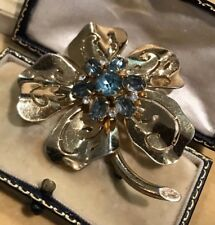Vintage Coro Silver With Gold Wash Flower Brooch