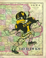 Iowa Hawkeyes Football Art Print Kinnick Stadium State Map Hayden Fry Herky