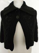KAREN MILLEN Women's Black Cardigan Short Poncho Wool Blend Collar Button 10