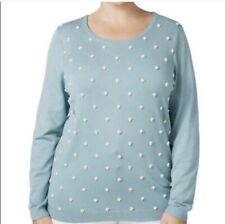 Charter Club Womans Pearl Embellished Knit Pullover Sweater Size XXL Aqua NWT