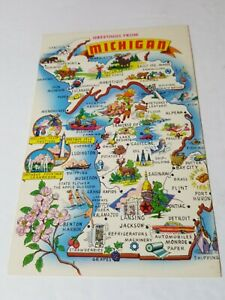 Vintage 1960s postcard GREETINGS FROM MICHIGAN state map tourism card