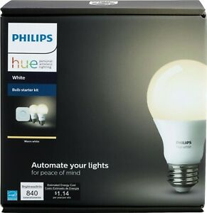 Philips Hue 476929 Bluetooth White A19 60W LED Bulbs 2 Pack Starter Kit - White