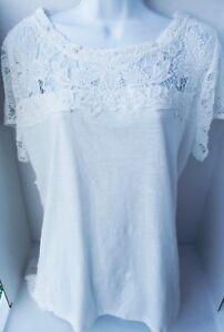 ADIVA SOLID WHITE THICK LACE CLASSIC CASUAL SHORT SLEEVE COTTON TOP SHIRT 2X NEW